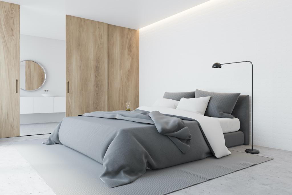 White master bedroom corner with bathroom